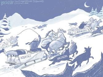 Editorial Cartoon U.S. hackers hospitals utilities