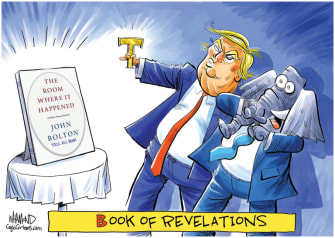 Political Cartoon U.S. Trump Bolton book revelations