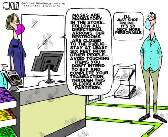Editorial Cartoon U.S. shopping stores coronavirus restrictions