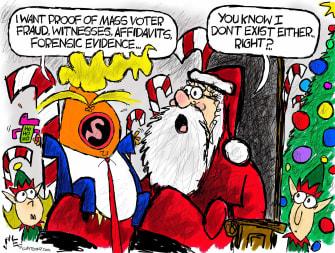 Political Cartoon U.S. Trump voter fraud Santa