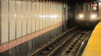 An oncoming subway.