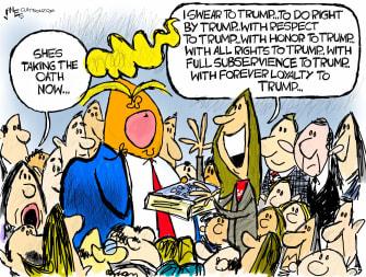 Political Cartoon U.S. Trump Amy Coney Barrett SCOTUS