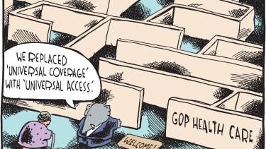 Political cartoon U.S. GOP health care ObamaCare
