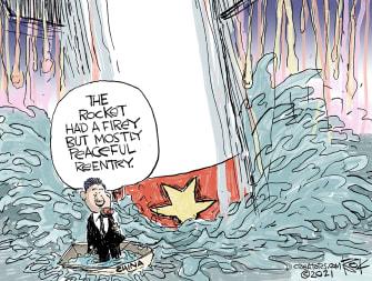 Editorial Cartoon World china xi jinping rocket debris