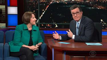 Sen. Amy Klobuchar talks to Stephen Colbert about the midterms