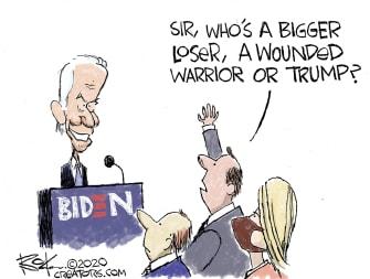 Political Cartoon U.S. Biden Trump losers suckers