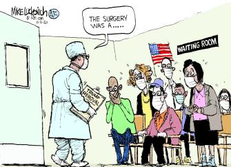 Political Cartoon U.S. Trump Biden 2020