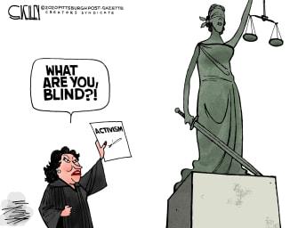 Political Cartoon U.S. Sonia Sotomayor U.S. Supreme Court Lady Justice conservative rulings progressive interpretations activism