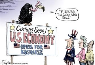 Political Cartoon U.S. economy reopen coronavirus deaths