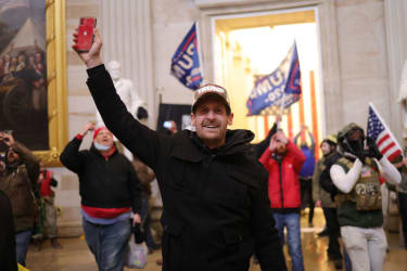 Pro-Trump rioters inside the Capitol.