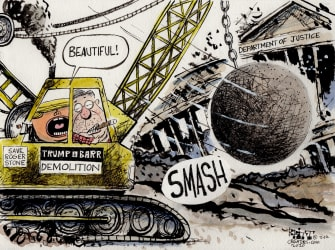 Political Cartoon U.S. Barr Trump smash Stone case justice smash