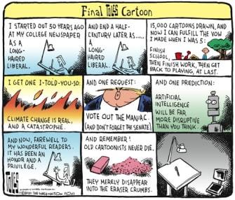 Editorial Cartoon U.S. Toles retirement