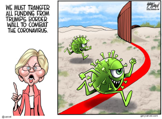 Political Cartoon U.S. Warren defund wall fight coronavirus