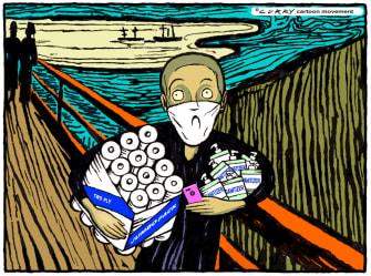 Editorial Cartoon U.S. coronavirus The Scream panic shopping toilet paper