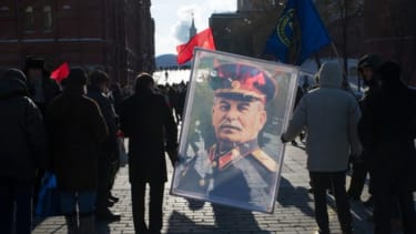 Stalin's fans carry the long-dead leader's portrait through Moscow's Red Square on March 5.