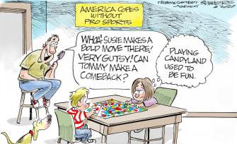 Editorial Cartoon U.S. Coronavirus COVID-19 Candy Land sports children lockdown