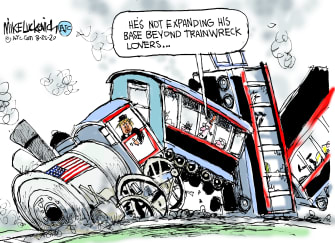 Political Cartoon U.S. Trump 2020 trainwreck base