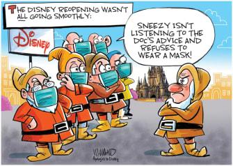 Editorial Cartoon U.S. Disney reopening seven dwarves coronavirus