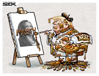 Political Cartoon U.S. Kamala Harris Vice President Trump Nasty Woman