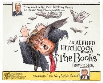 Political Cartoon U.S. Trump books Bolton Mary Hitchcock The Birds