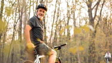 Retired man on a bike.
