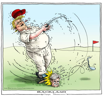 Political Cartoon U.S. Trump John Bolton impeachment golfing backfire club broken