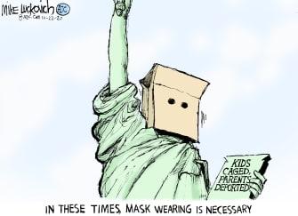 Political Cartoon U.S. Trump border parents children