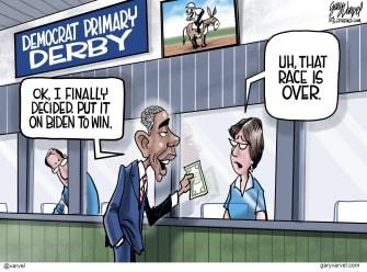 Political Cartoon U.S. Obama Biden endorsement