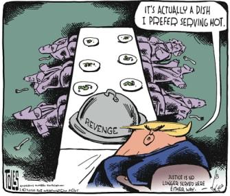 Political Cartoon U.S. Trump impeachment revenge dish