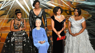 Katherine Johnson with members of the Hidden Figures cast.