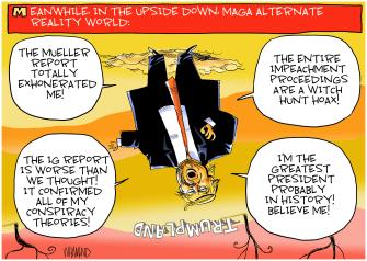 Political Cartoon U.S. Trump Land Upside Down