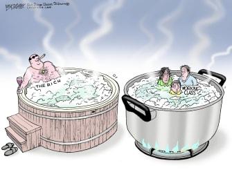 Editorial Cartoon U.S. rich working class