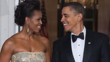 Michelle Obama and Barack Obama.