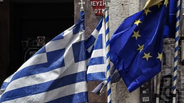 Greece, European Union flags
