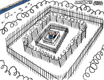 Political Cartoon U.S. Biden inauguration peaceful transfer