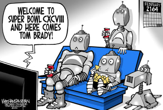 Editorial Cartoon U.S. tom brady super bowl