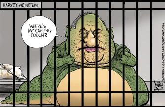 Editorial Cartoon U.S. Harvey Weinstein Star Wars Jabba the Hutt sexual harasser jail casting couch