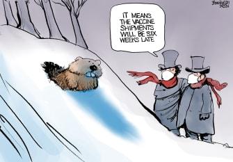 Editorial Cartoon U.S. groundhogs day covid vaccine
