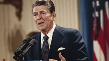 President Ronald Reagan answers questions at his news conference in the White House in 1983.