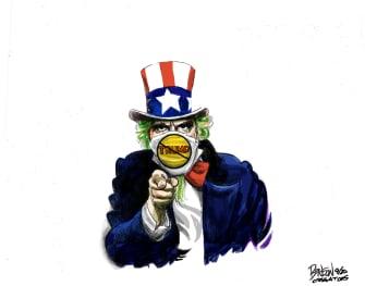 Political Cartoon U.S. Uncle Sam Trump