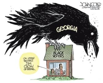 Political Cartoon U.S. georgia voter law jim crow
