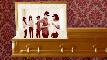 A party in a coffin.