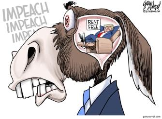 Political Cartoon U.S. democrats trump impeachment