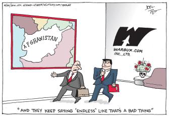 Editorial Cartoon U.S. afghanistan withdrawal military contractor