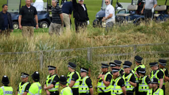 President Trump visits his golf property in Scotland