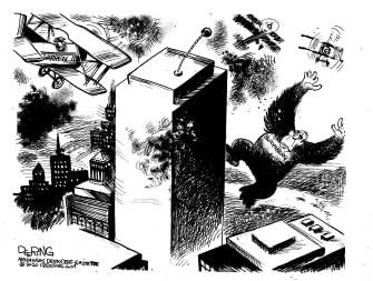 Political Cartoon U.S. Bloomberg Warren King Kong movies beasts fighting