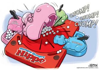 Political Cartoon U.S. Bill Barr DOJ Hungry Hungry Hippos