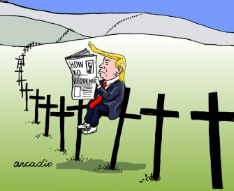 Political Cartoon U.S. Trump reopening coronavirus deaths