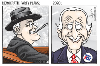 Political Cartoon U.S. biden FDR 2020 reality meme