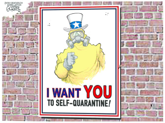 Political Cartoon U.S. Uncle Sam I want you quarantine coronavirus